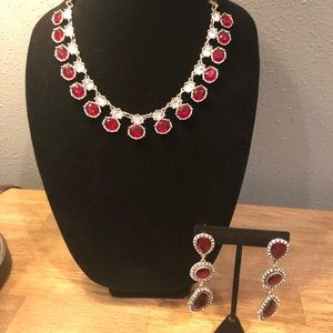 Jewelry - 🤑BOGO🤑 ❤️Ruby Red Statement Necklace/Earrings